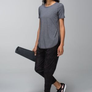 Lululemon | Grey and black striped tee
